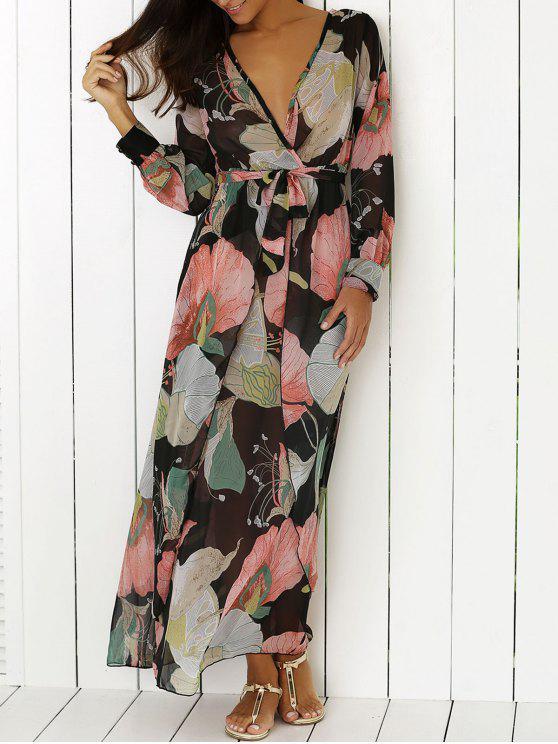 fancy Boho Floral Long Sleeve Surplice Dress - COLORMIX XL