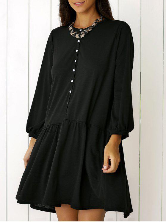 2019 Single Breasted Long Sleeve Shift Dress In Black L Zaful