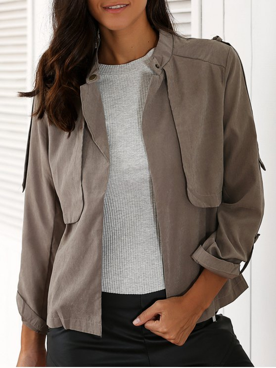 ladies Gray Stand Neck Long Sleeve Trench Coat - GRAY 2XL