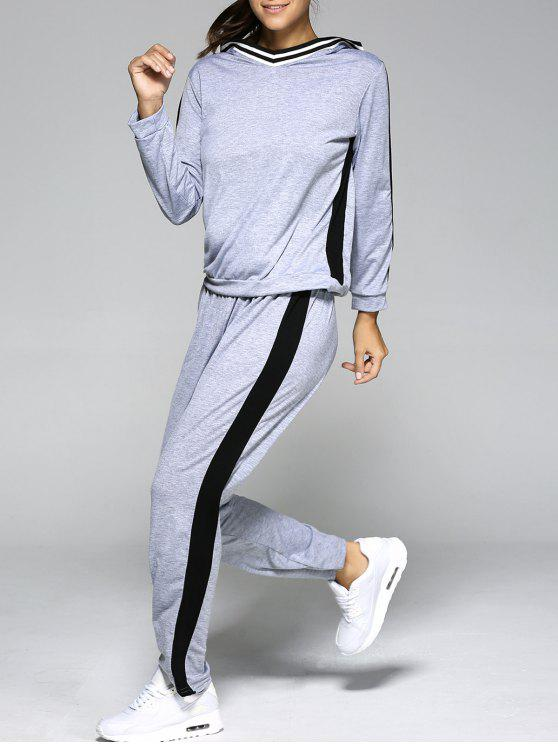 online Hooded Contrast Color Spliced Sports Suit - LIGHT GRAY L