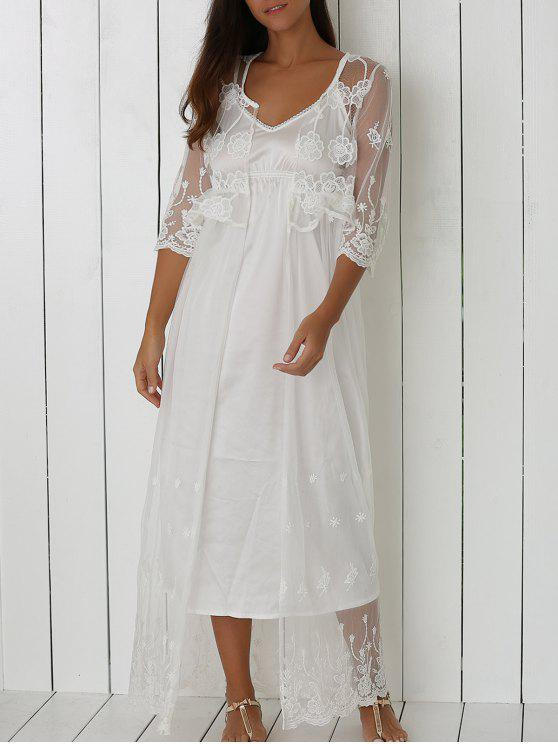 lady See-Through Floral Embroidery Long Cover Up - WHITE ONE SIZE