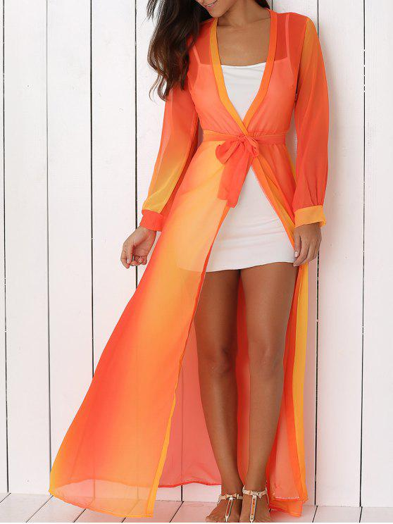 online Hit Color Plunging Neck Chiffon Maxi Dress - SWEET ORANGE XL