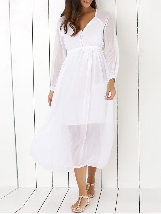 448837d2cdfd 27% OFF  2019 White V Neck Chiffon Maxi Dress In WHITE