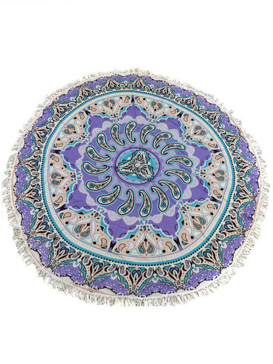 buy Bohemian Fringed Circle Ethnic Print Cover Up - PURPLE ONE SIZE