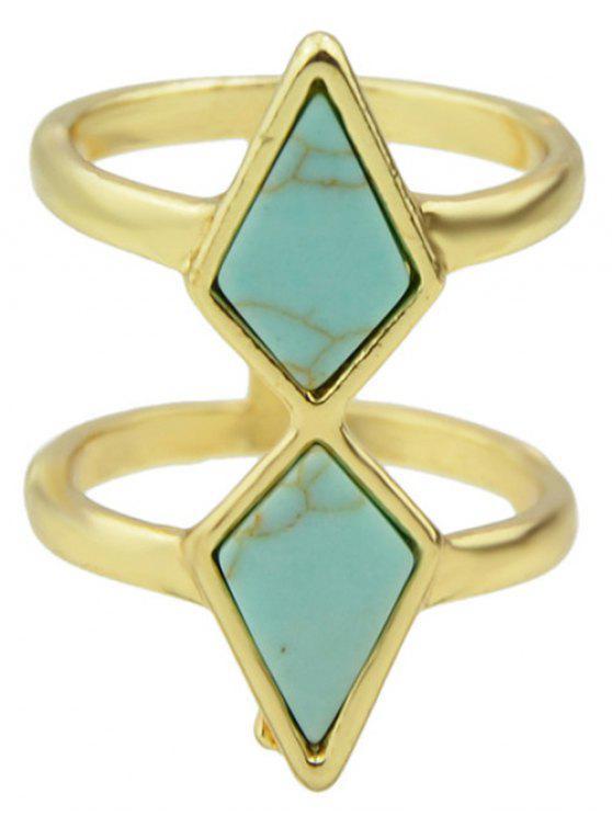 Mehrschichtiger geometrischer Ring mit Faux Türkis - Blau Einheitsgröße