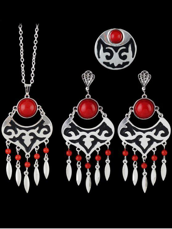 Ensemble de bijoux Perles Feuille évider - Rouge Taille Unique