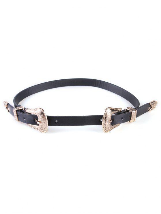 shop Vintage Double Pin Buckles Wide Belt - BLACK