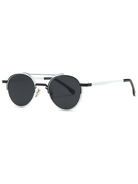 sale Metal Crossbar Oval Sunglasses - BLACK