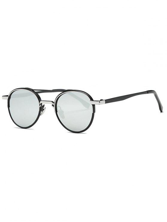 women Metal Crossbar Mirrored Oval Sunglasses - SILVER