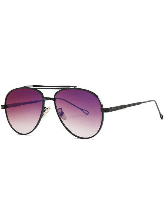 lady Ombre Lens Crossbar Pilot Sunglasses - BLACK