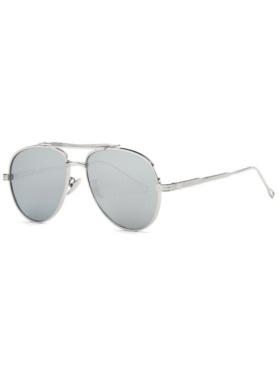 hot Ombre Lens Crossbar Mirrored Pilot Sunglasses - SILVER