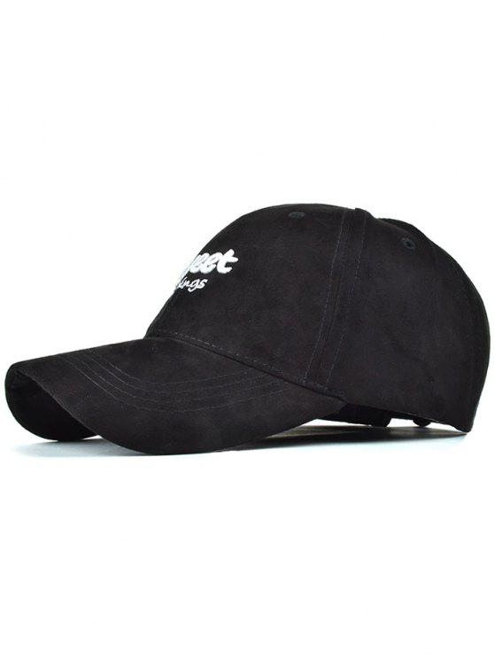 lady Letters Faux Suede Baseball Hat - BLACK