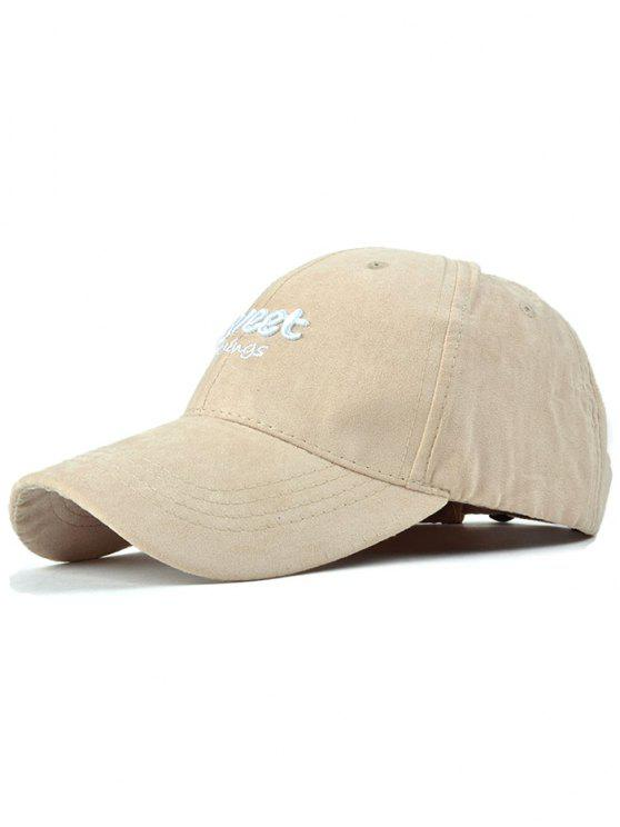 online Letters Faux Suede Baseball Hat - LIGHT KHAKI