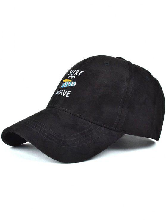 shops Surfboard Faux Suede Baseball Hat - BLACK