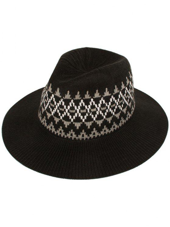 chic Geometry Knitted Jazz Hat - BLACK