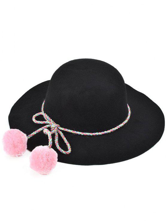 unique Pompon Lace-Up Felt Jazz Hat - BLACK