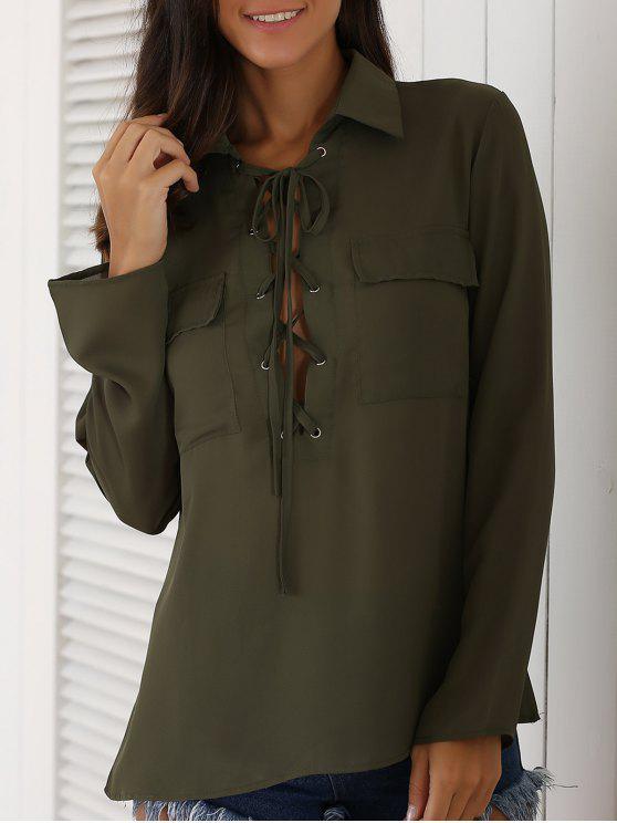 shop Lace-Up Turn Down Collar Long Sleeves Shirt - ARMY GREEN XL