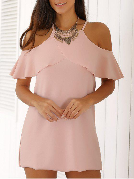 affordable Spaghetti Straps Cold Shoulder Mini Dress - PINK S