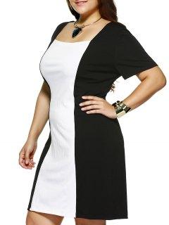 Plus Size Square Collar Color Block Dress - White And Black 2xl