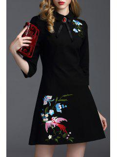 Embroidered Bowknot A Line Work Dress - Black L