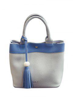 Magnetic Closure Tassels PU Leather Tote Bag - Light Gray