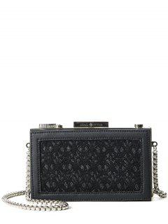 Dentelle Splicing Box Shape Evening Bag - Noir