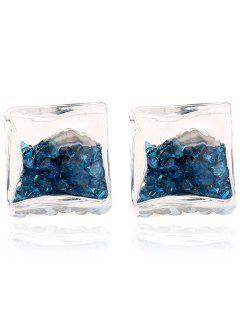Square Rhinestone Stud Earrings - Lake Blue