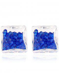 Square Rhinestone Stud Earrings - Sapphire Blue