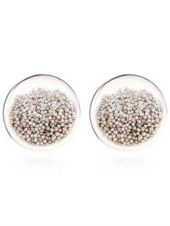 Transparent Beads Stud Earrings - White