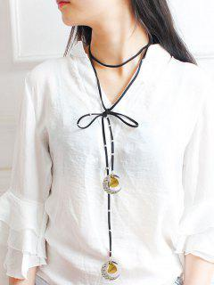PU Leather Bowknot Moon Grandma Choker - Black