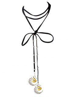 Artificial Leather Bowknot Mom Moon Choker - Black