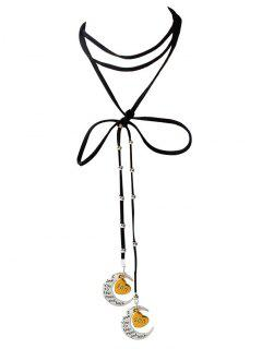 Artificial Leather Bowknot Son Moon Choker - Black