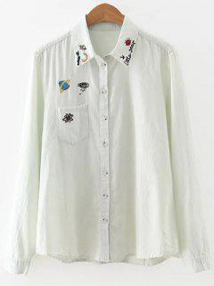 Bleach Wash Denim Overshirt - Light Blue M