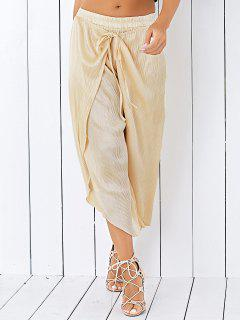 Slit Culotte Pants - Champagne Gold
