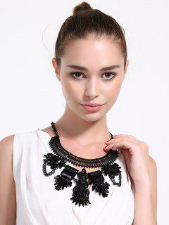 Artificial Crystal Water Drop Geometric Necklace - Black