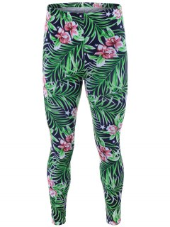 High Waisted Orchid Print Bodycon Leggings - Green