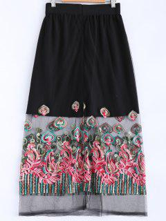 Embroidery Voile Spliced Elastic Waist Skirt - Black