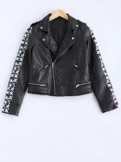 Lapel Collar Letter Print PU Leather Jacket - Black M
