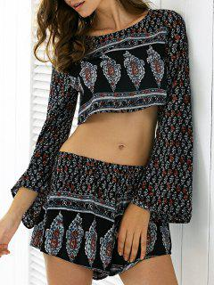 Long Sleeve Printed T-Shirt And Shorts Twinset - S