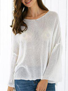 Neck Solide Ronde Couleur Ample Thin Sweater - Blanc
