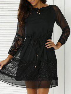 Lace Splicing 3/4 Sleeve Black Dress - Black S