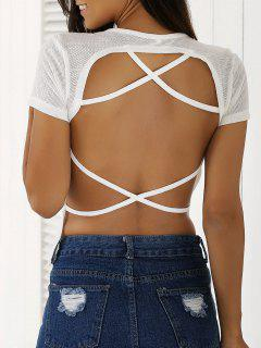 Blanc Backless à Manches Courtes T-shirt - Blanc S