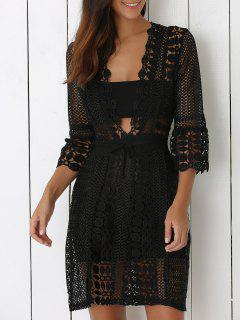 Sheer Crochet Lace Dres - Black S
