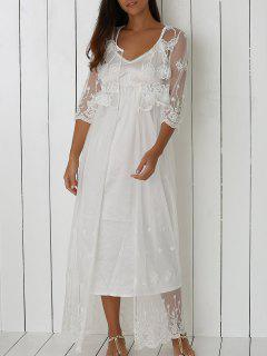 See-Through Floral Embroidery Long Cover Up - White