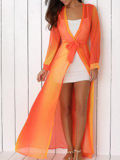 Hit Color Plunging Neck Chiffon Maxi Dress - Sweet Orange S