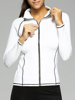 Zipper Design Surpiquée Slimming Jacket - Blanc S