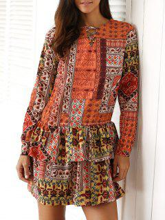 Ethnic Print V Neck Long Sleeve Ruffles Dress - Dun S