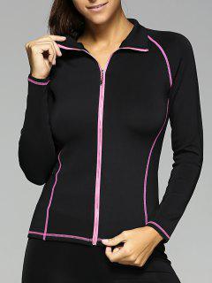 Zipper Design TopStitched Slimming Jacket - Black L