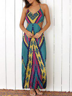 Halter Argyle Pattern Colored Maxi Dress - Blue S