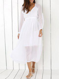 Blanca Con Cuello En V Vestido De Gasa Maxi - Blanco M